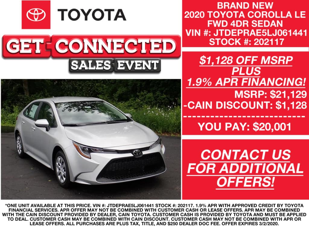 PURCHASE OFFERS! New 2020 Toyota Corolla LE FWD 4D Sedan
