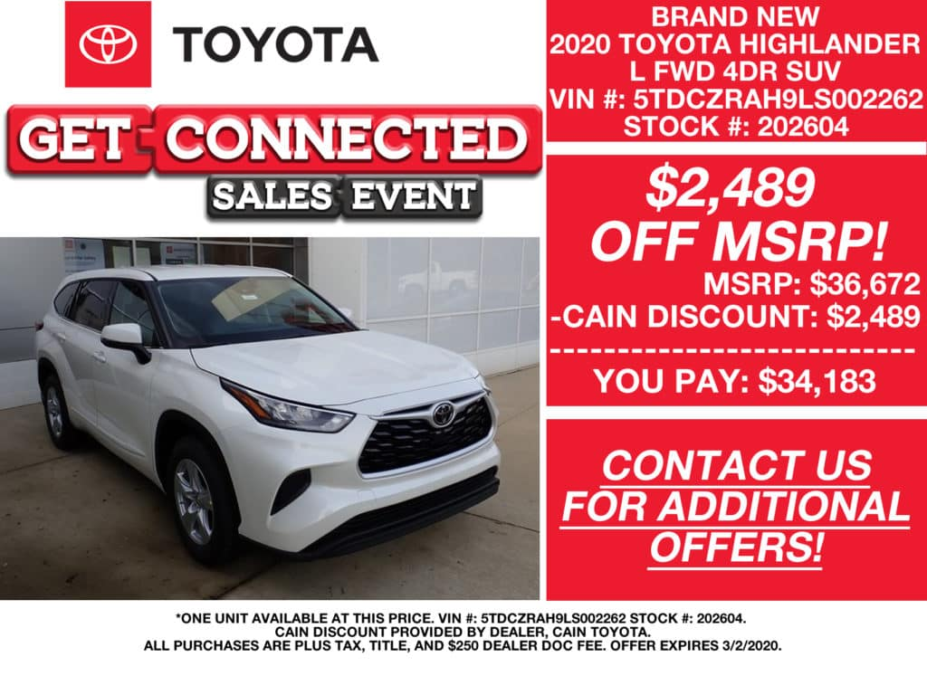 PURCHASE OFFERS! New 2020 Toyota Highlander L FWD 4DR SUV
