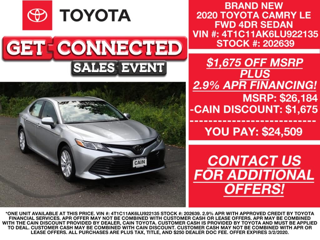 PURCHASE OFFERS! New 2020 Toyota Camry LE FWD 4D Sedan