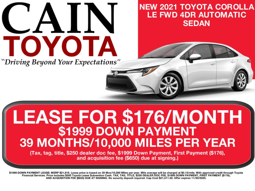 LEASE SPECIAL! New 2021 Toyota Corolla LE FWD 4D Sedan