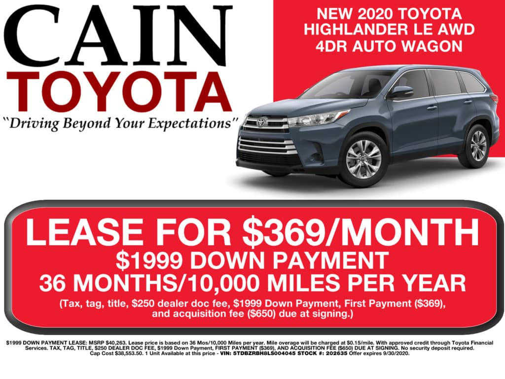LEASE SPECIAL! New 2020 Toyota Highlander LE AWD 4DR AUTO SUV