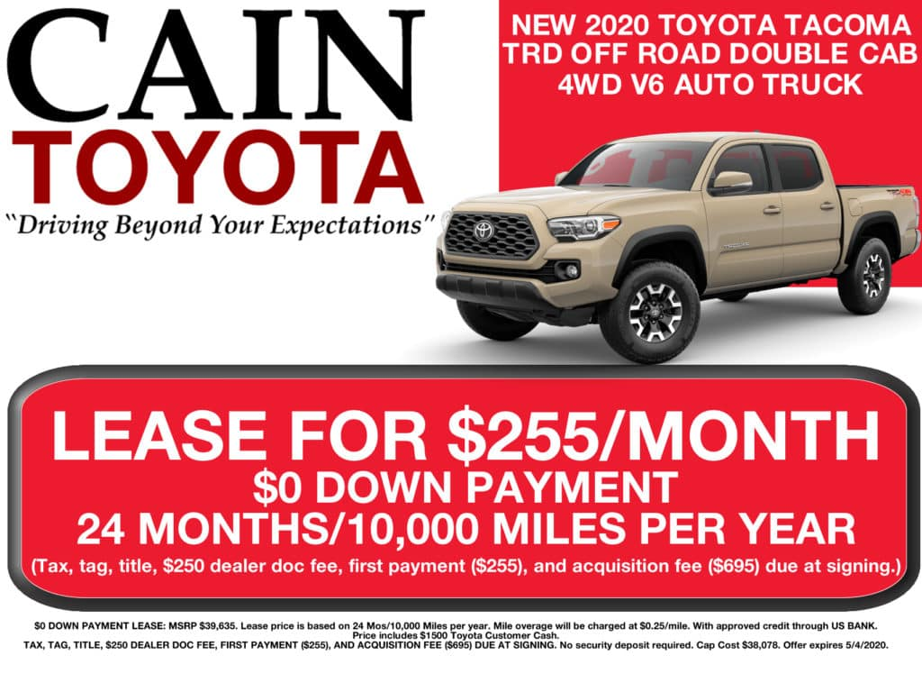 LEASE SPECIAL! New 2020 Toyota Tacoma TRD Off Road Double Cab 4WD V6 Auto Truck