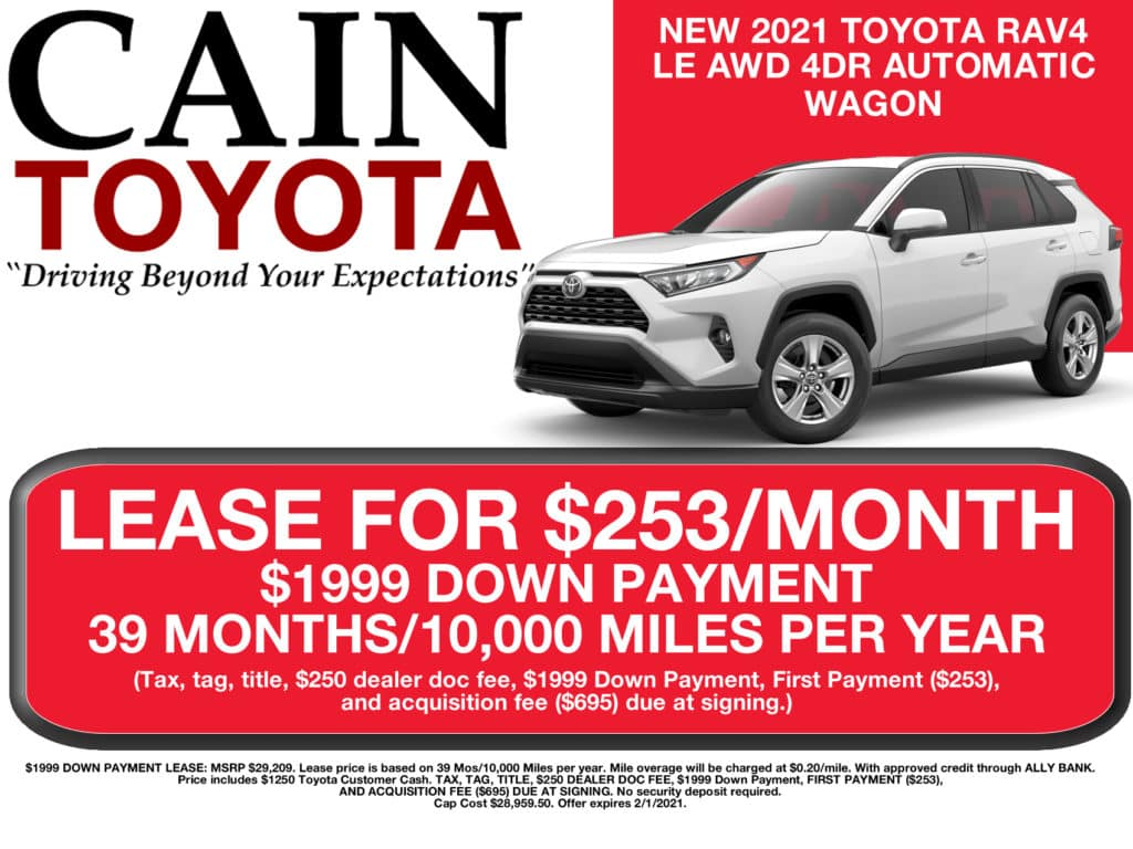 LEASE SPECIAL! New 2021 Toyota RAV4 LE AWD 4DR Wagon