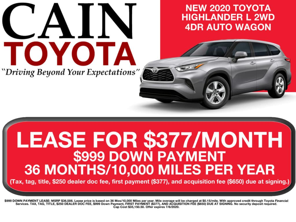 LEASE SPECIAL! New 2020 Toyota Highlander L 2WD 4DR AUTO SUV