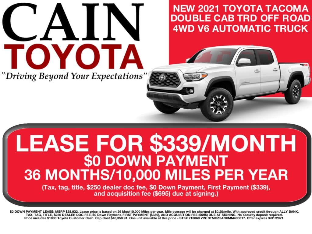 LEASE SPECIAL! New 2021 Toyota Tacoma TRD OFF ROAD DOUBLE CAB 4WD V6 Automatic Truck