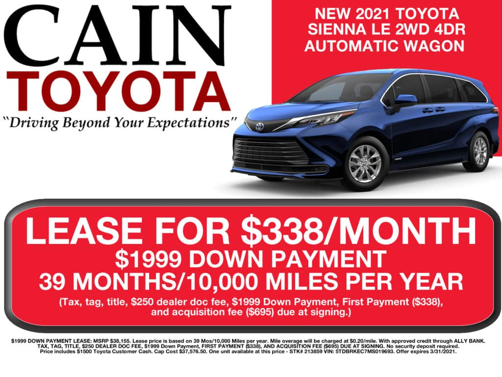 LEASE SPECIAL! New 2021 Toyota Sienna LE 2WD 4DR Auto Wagon