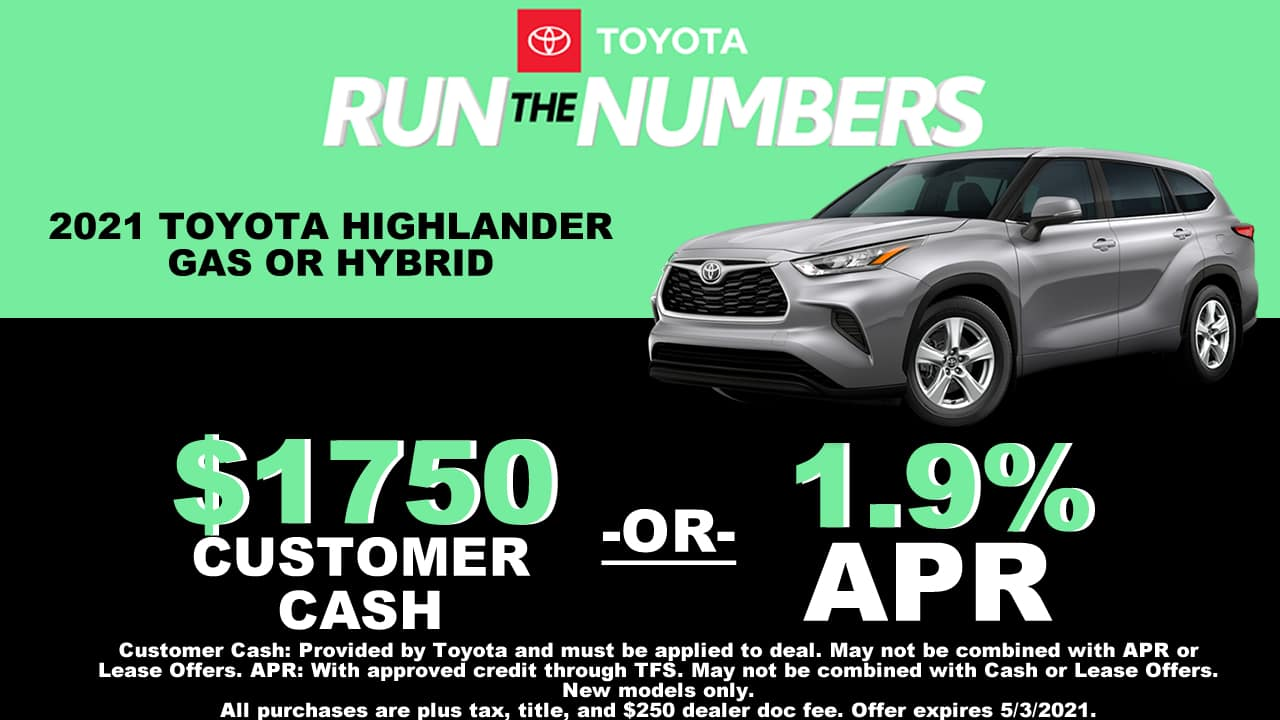 HIGHLANDER SPECIAL OFFER CAIN TOYOTA NORTH CANTON OHIO