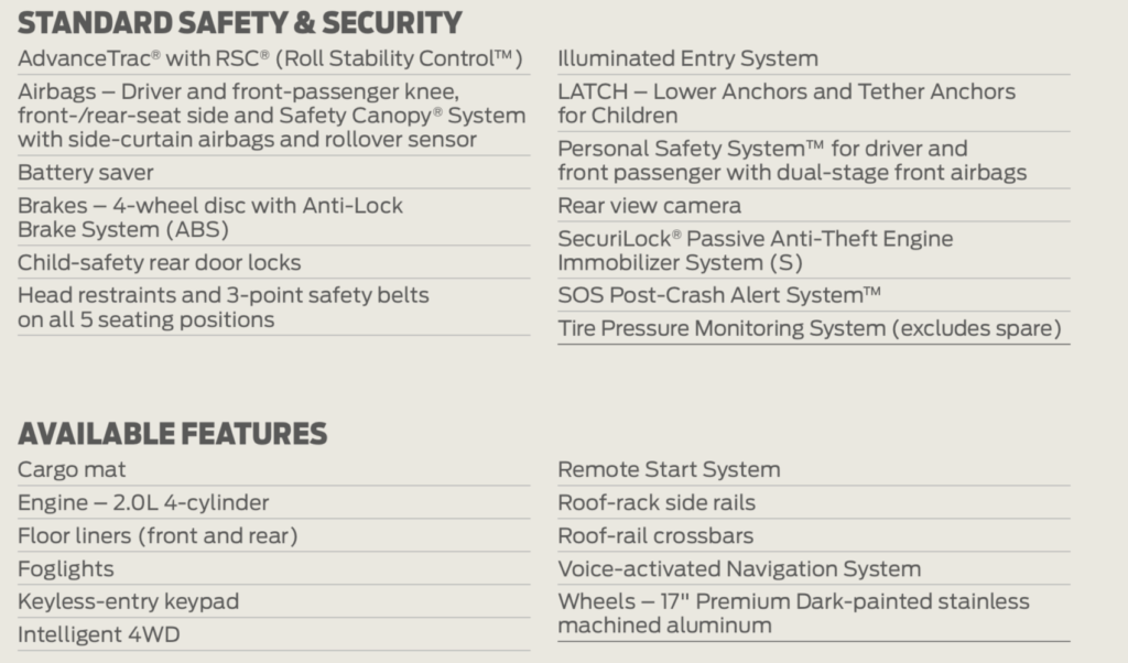 ecosport safety features