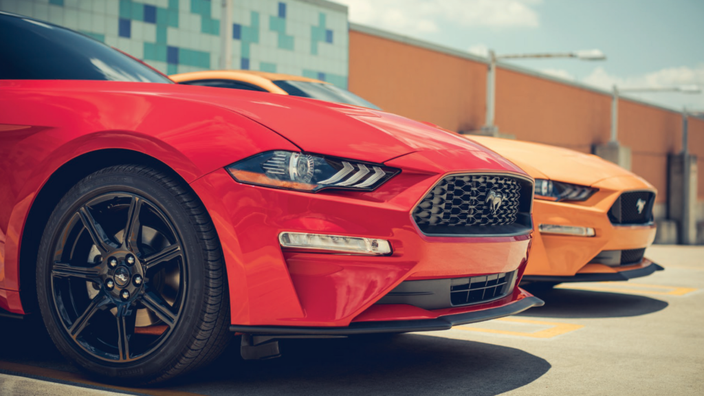 Mustang Lineup - Orange and Red