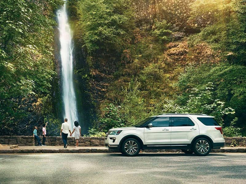 2018 Ford Explorer Canada Platinum by waterfall