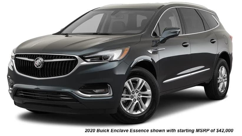 A black 2020 Buick Enclave Essence is angled left.