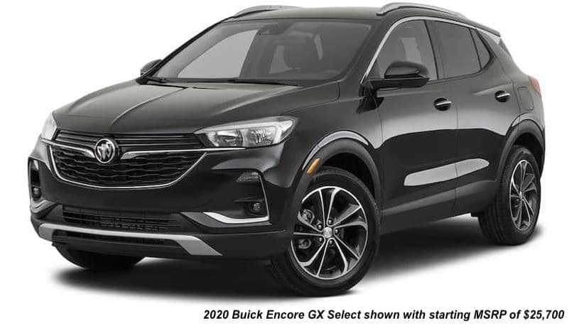 A black 2020 Buick Encore GX Select is angled left.