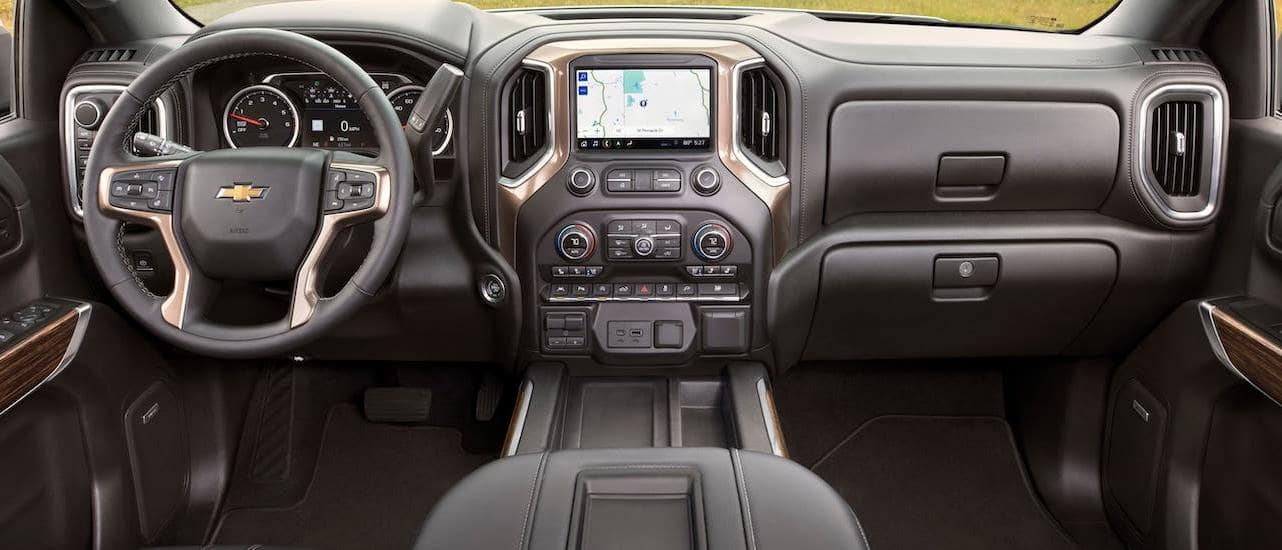 The interior if a 2020 Chevy Silverado 1500 High Country is shown while parked near Lexington, KY.