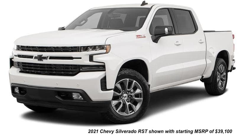 A white 2020 Chevy Silverado 1500 RST is angled left.