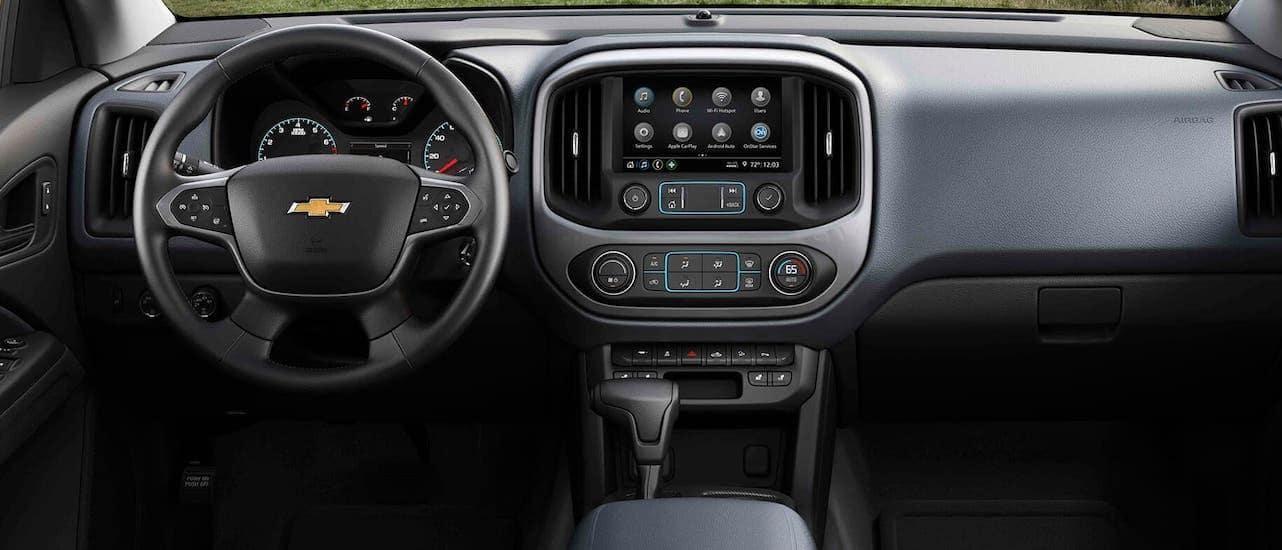 A closeup shows the infotainment screen in a 2021 Chevy Colorado.