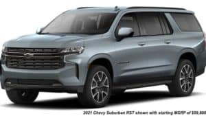 A gray 2021 Chevy Suburban RST is angled left.