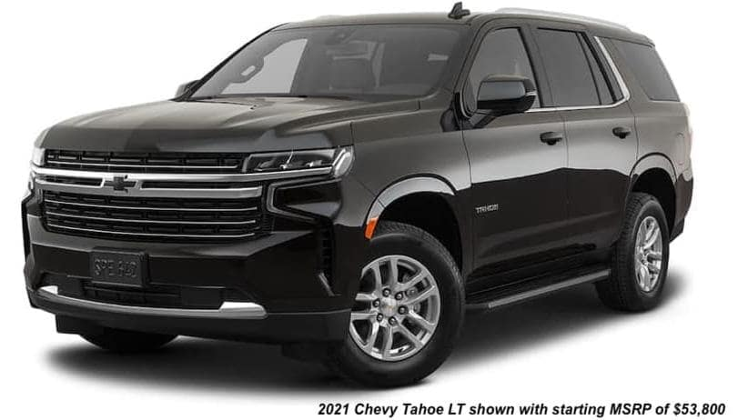 A black 2021 Chevy Tahoe LT is angled left.