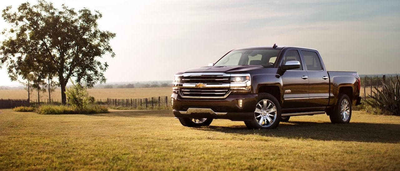 A burgundy 2018 used Chevy Silverado 1500 High Country is parked next to a tree in a field.