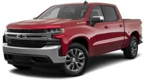A red 2021 Chevy Silverado 1500 with black badging is angled left.