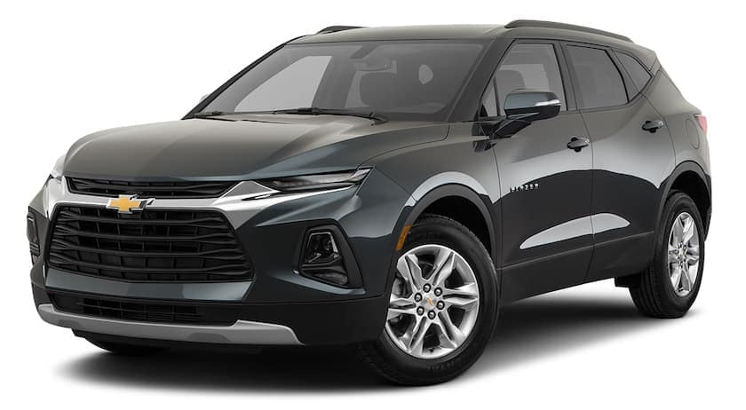 A black 2021 Chevy Blazer 2LT is angled left.