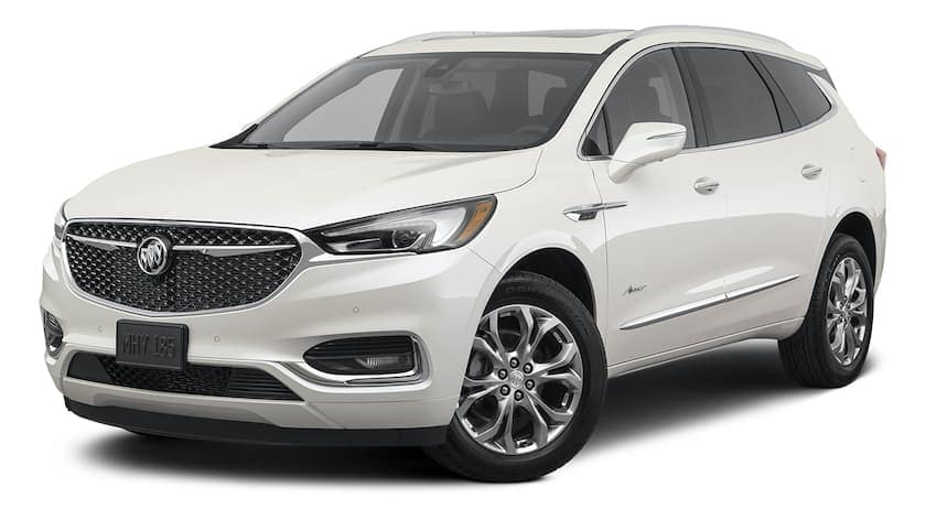 A white 2021 Buick Enclave Avenir is angled left.