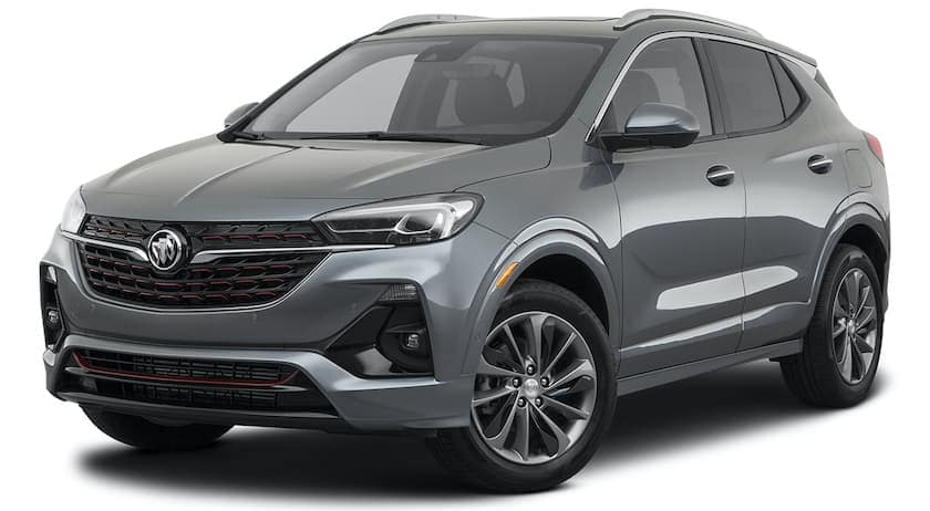 A grey 2021 Buick Encore GX is angled left.