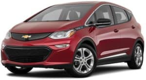 A red 2021 Chevy Bolt EV is angled left.