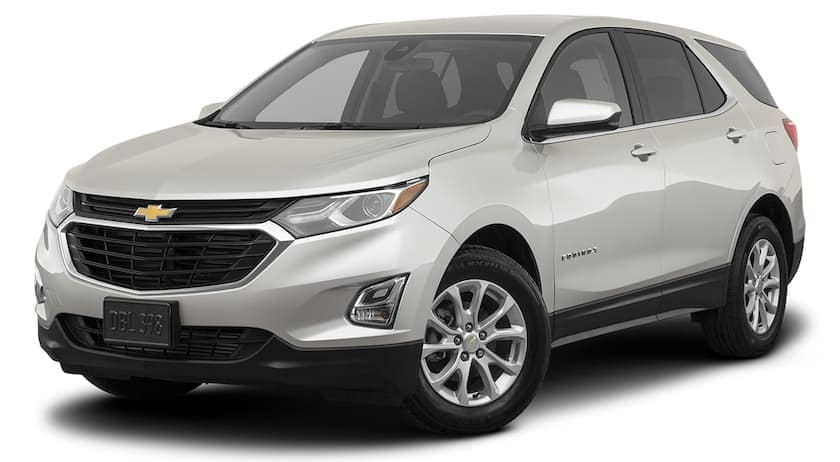 A white 2021 Chevy Equinox is angled left.