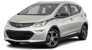 A silver 2021 Chevy Bolt EV is angled left.