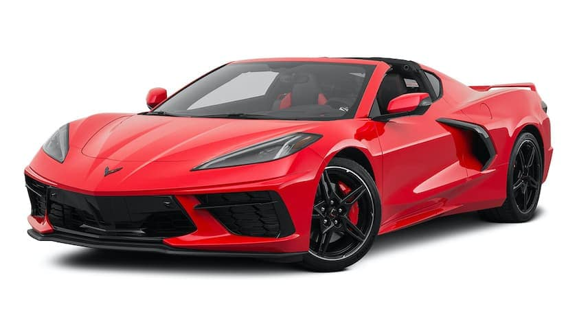 A red 2021 Chevy Corvette is angled left.