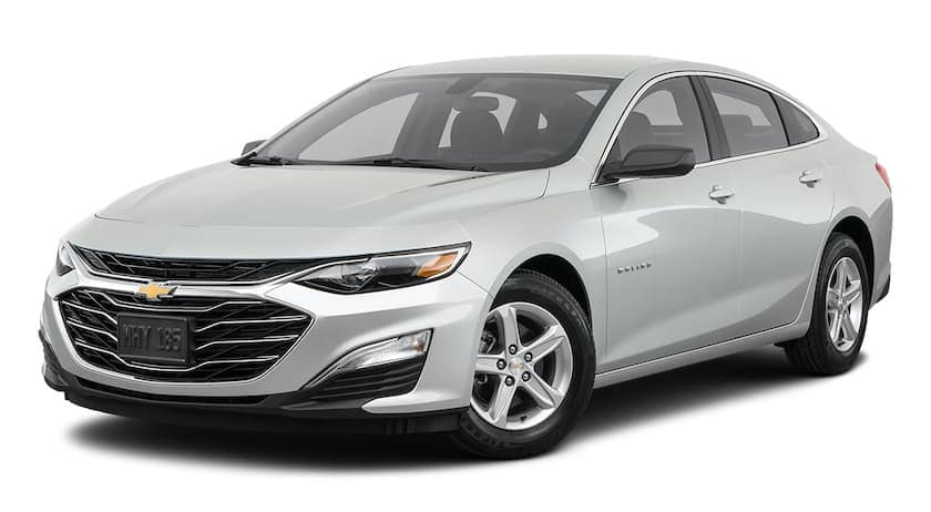 A white 2021 Chevy Malibu is angled left.