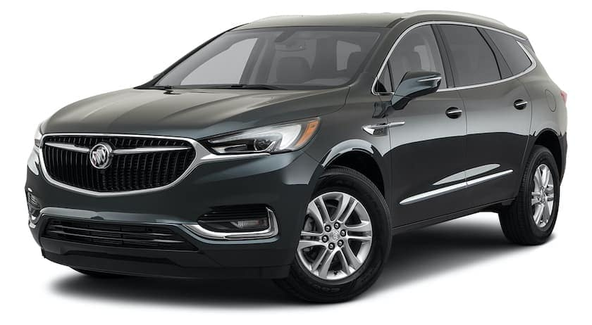 A dark grey 2021 Buick Enclave is angled left.