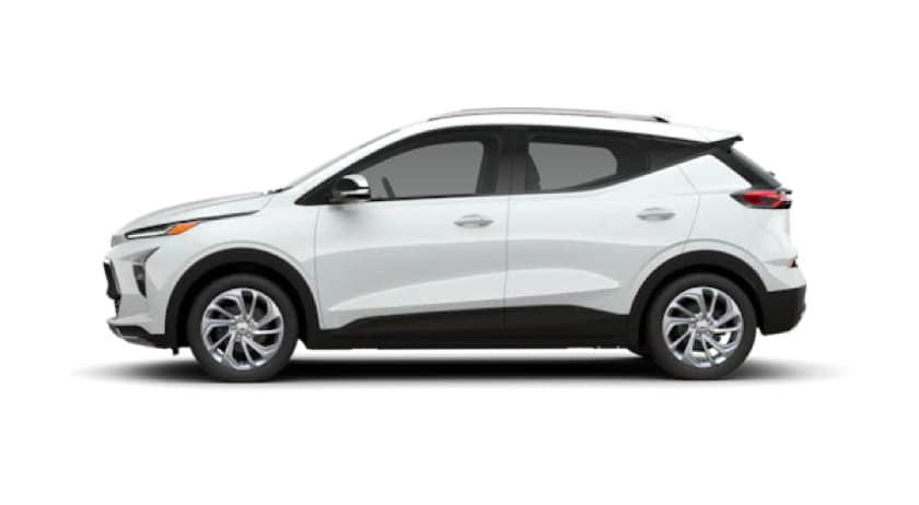 A white 2022 Chevy Bolt EUV is facing left.