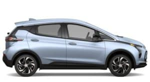 A light blue 2022 Chevy Bolt EV is shown facing right on a white background.