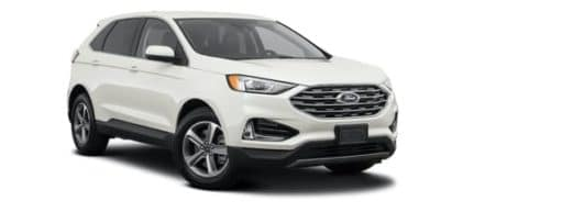 A white 2021 Ford Edge is angled right.