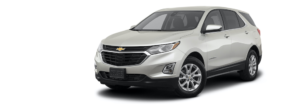 A silver 2021 Chevy Equinox is shown angled left.