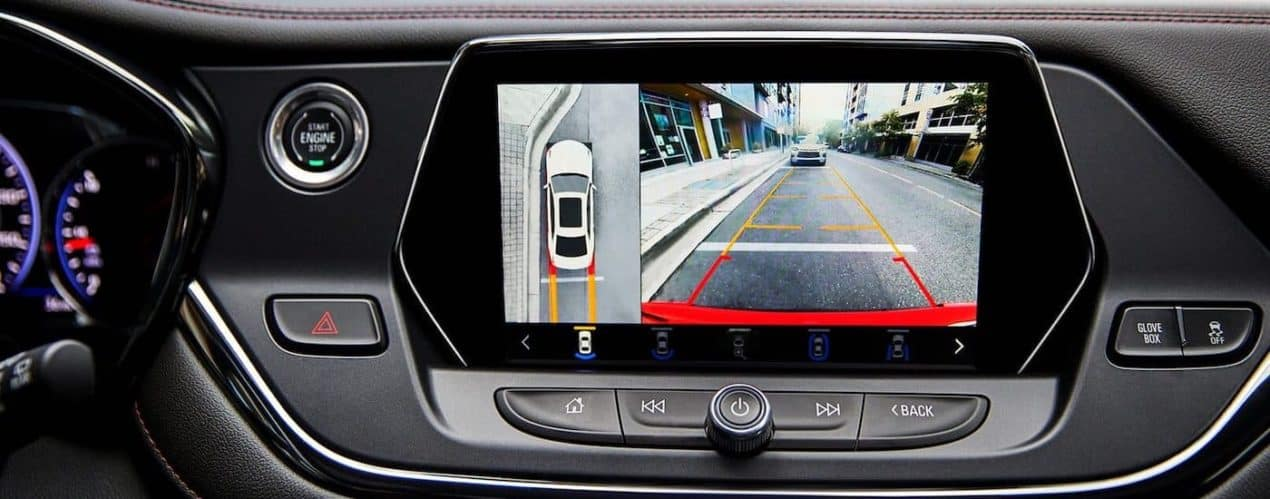 A close up shows the back up camera view on the infotainment screen in a 2022 Chevy Blazer RS.