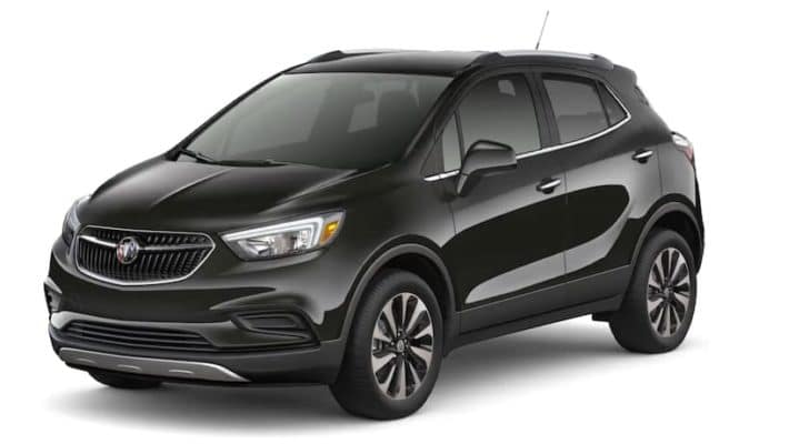 A black 2022 Buick Encore is shown angled left.