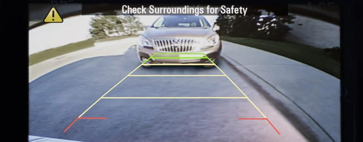 A view from the camera in a 2022 Buick Encore shows a surrounding check.