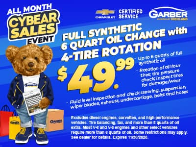 Full Synthetic 6-quart oil change with 4-tire rotation $49.99
