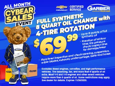 Full Synthetic 8-quart oil change with 4-tire rotation $69.99