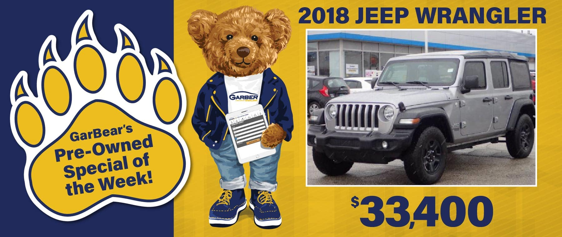 GarBear's Pre-owned Special of the Week! | 2018 Jeep Wrangler $33,400