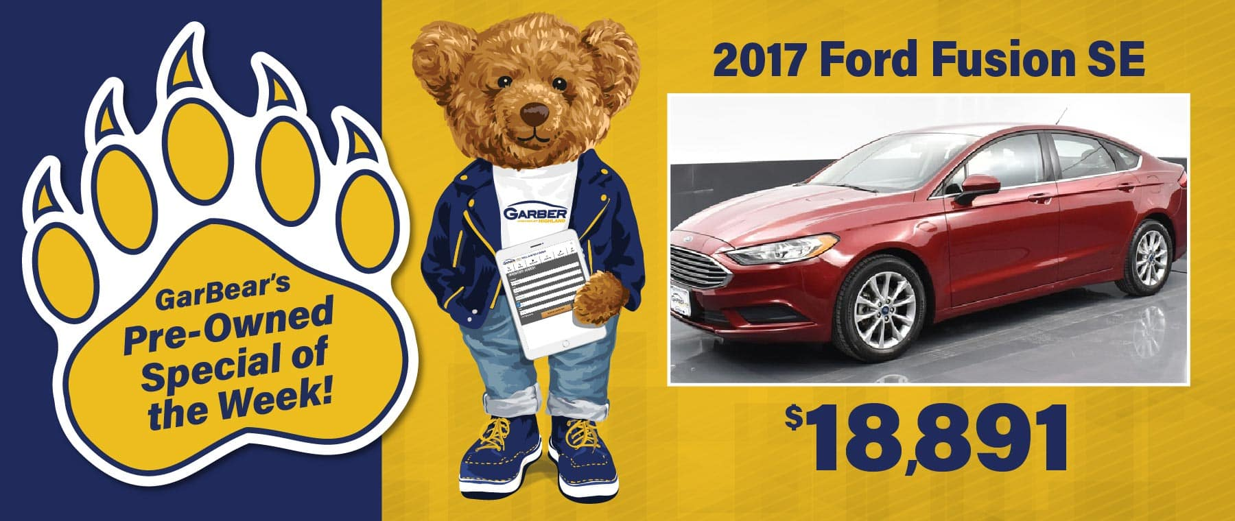 GarBear's Pre-Owned Special 2017 Ford Fusion $18,891