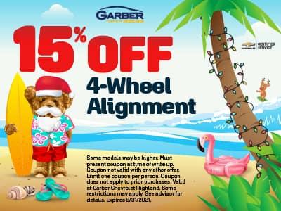 15% off 4-wheel alignment