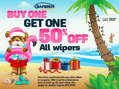 Buy one Get one 50% off on all wipers