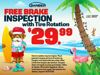 FREE Brake Inspection with $29.99 Tire Rotation