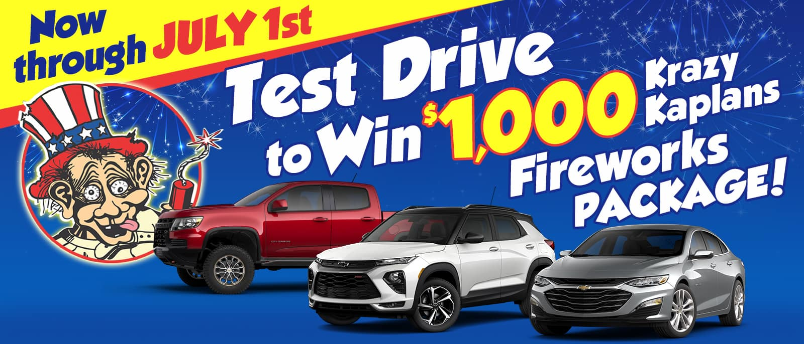 Test Drive any new or used car and be entered to win a $1000 fireworks package!