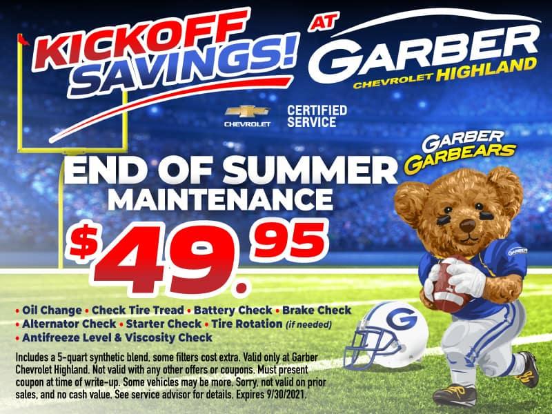 End of Summer Maintenance $49.95