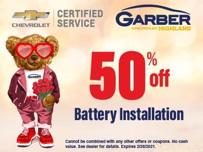 50% off Battery Installation