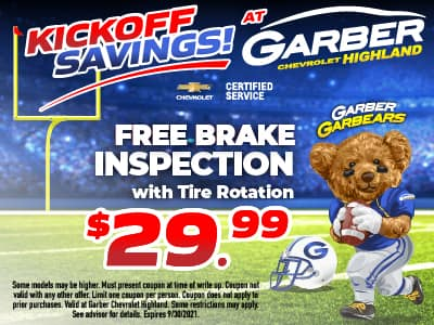 Free Brake Inspection with Tire Rotation $29.95
